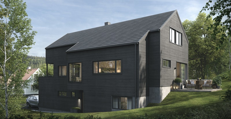 Husene som det er gitt rammetillatelse til har et moderne, men allikevel tidløst uttrykk.   Illustrasjonsfoto- avvik kan forekomme.