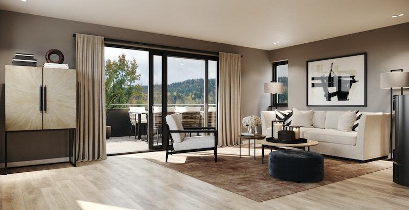I 1.etg. er det utgang til 2 solrike terrasser   Illustrasjonsfoto- avvik kan forekomme.