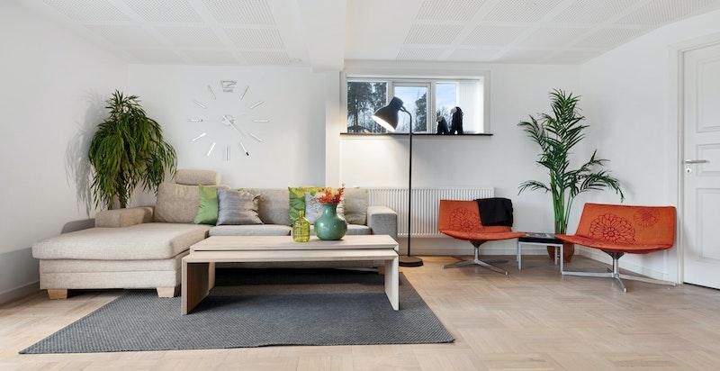 God plass til sofagruppe, tv-seksjon og øvrig møblement.
