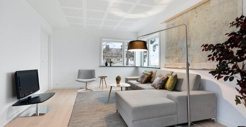 God plass til sofa, tv-seksjon og øvrig møblement.