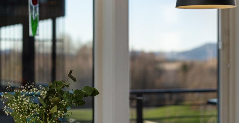 Fra spisestuen kan man nyte utsikten til områdets grøntarealer