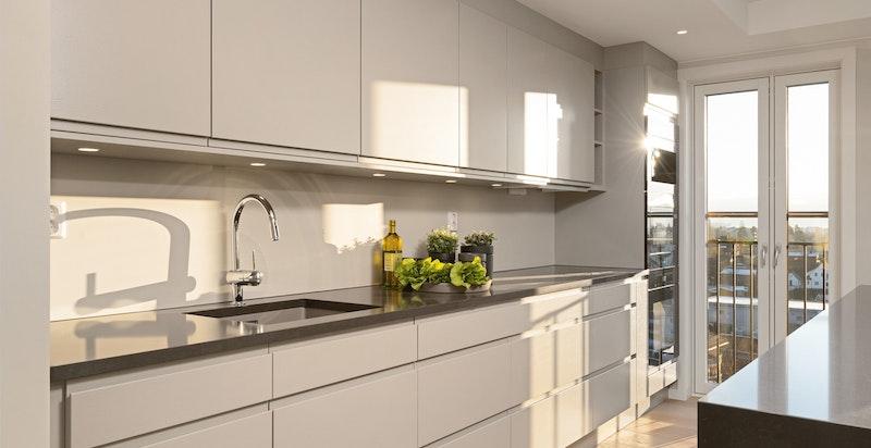 Meget påkostet eksklusivt kjøkken fra Huseby. Stilren belysning, praktiske løsninger og lekre detaljer.