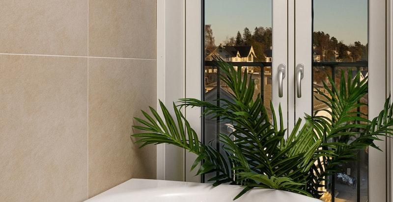 Fra badekaret har man hyggelig utsikt og samtidig er det helt usjenert