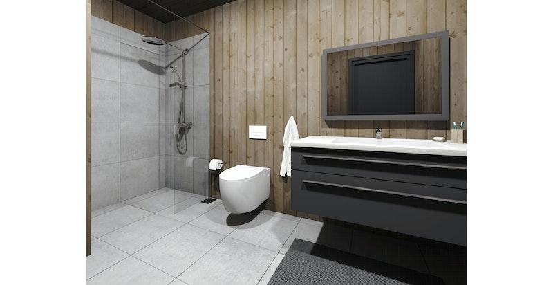 Illustrasjonsbilde, bad. Badet leveres med fliser på gulv, mosaik i dusjone og panel på veggene.