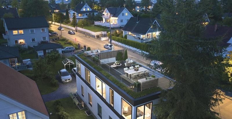 Steingrimsvei 23 - illustrasjon sett fra sydvest. Hus D og E. Disse utgjør en del av samme sameie og er allerede solgt.