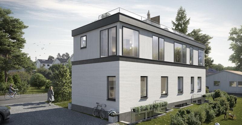 Steingrimsvei 23 - illustrasjon sett fra nordvest. Hus D og E. Disse utgjør en del av samme sameie og er allerede solgt.