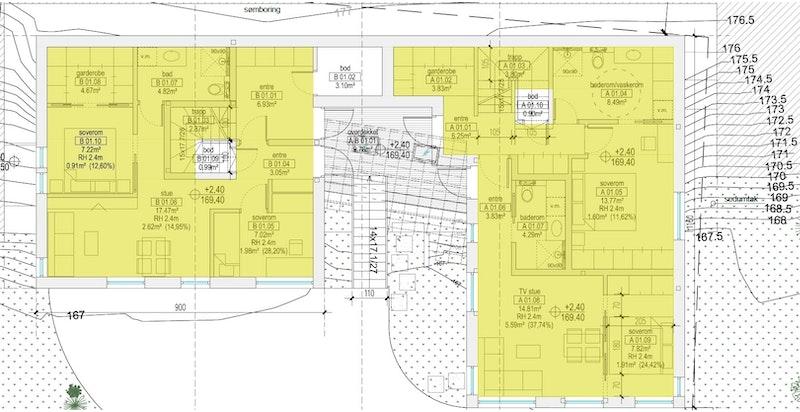 Plan 1 begge hus (B til venstre, A til høyre). Trykk på aktuelle bolig i listevisningen for større plantegninger.