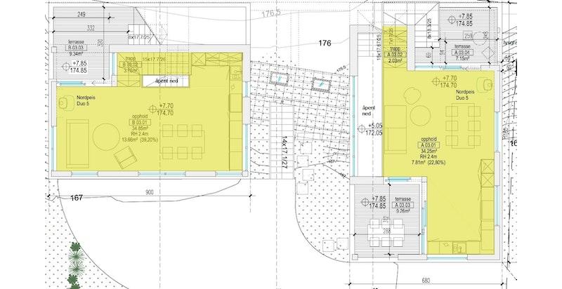 Plan 3 begge hus (B til venstre, A til høyre). Trykk på aktuelle bolig i listevisningen for større plantegninger.