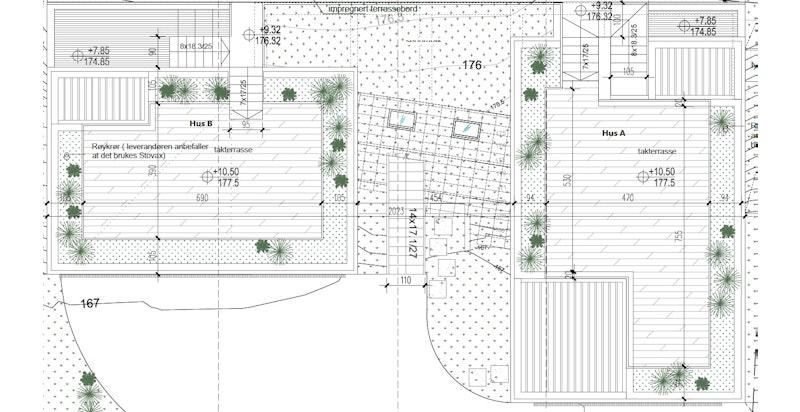 Takplan begge hus (B til venstre, A til høyre). Trykk på aktuelle bolig i listevisningen for større plantegninger.