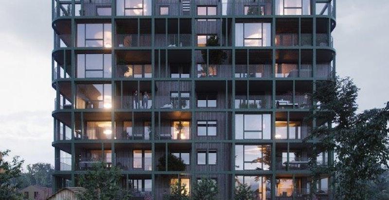 """Arkitektenes grep med """"grid"""" utenpå bygget gir en spennende og unik fasade. Illustrasjon."""