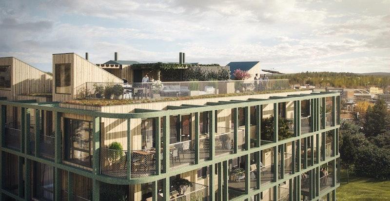 Velkommen til Ski Tårn av A-lab! Private takterrasser med gjennomtenkte og eksklusive løsninger. Store balkonger/terrasser i alle etasjer. Illustrasjon.