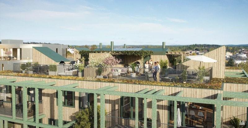 De 4 toppleilighetene får private takterrasser med privat adkomst fra leilighet. Leveres ferdig utstyrt med utekjøkken, grill og pergola. Illustrasjon.