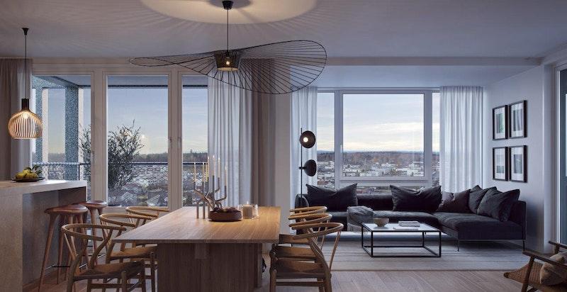 Nydelig utsikt fra flere boliger i høyere etasjer. Illustrasjon.