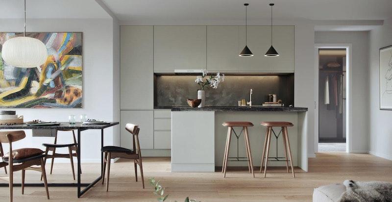 Kjøkken kan velges i 15 ulike farger i modellen Horisont fra Sigdal. Utover dette kan man også velge to helt andre kjøkkenmodeller - uten ekstra kostnad.