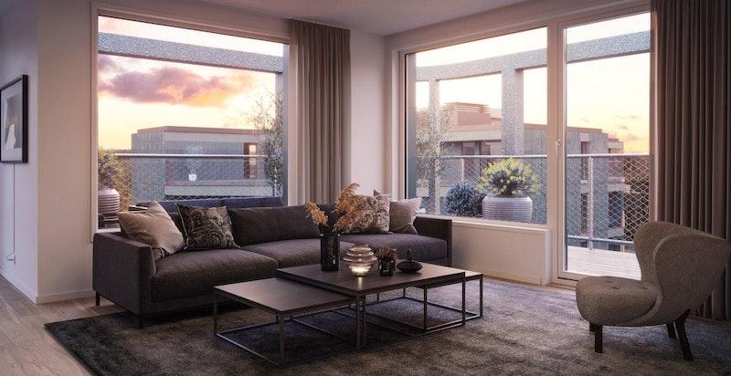 Fra stuen er det utgang til solrik balkong. Illustrasjon.