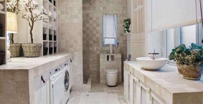 God plass til både vaskemaskin og tørketrommel.