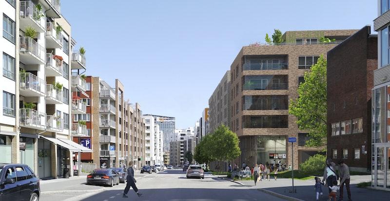 Tidlig illustrasjon hvor man står i Lørenveien og ser hjørnet av bygg A.