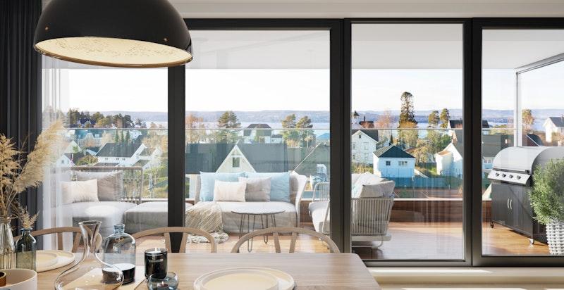 Usjenert stue med utgang til stor solrik balkong med koselig og vid utsikt (Illustrasjon, avvik kan forekomme)
