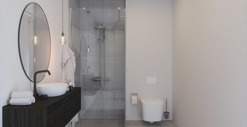 Delikate, tidsmessige baderom. Her finnes tilvalgsmuligheter. Plass til badekar! (Illustrasjon, avvik kan forekomme)