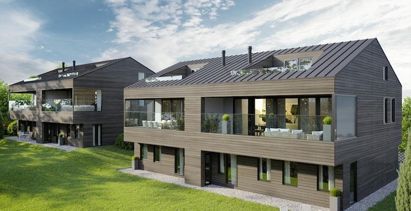 De to sørvestvendte tomannsboligene vil få et moderne design, tegnet av erfarne Skaara Arkitekter. Tidsriktig arkitektur i harmoni med omgivelsene. (Illustrasjon, avvik kan forekomme)