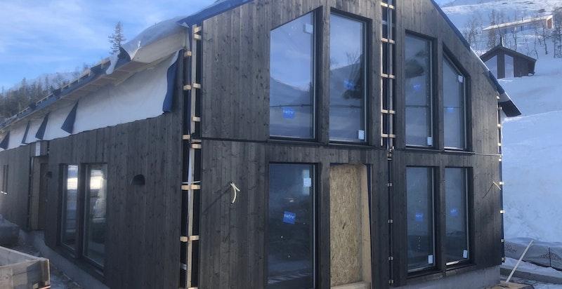 Foto fra byggeplassen primo mars 2021 Løkjestaulkilsvegen 66