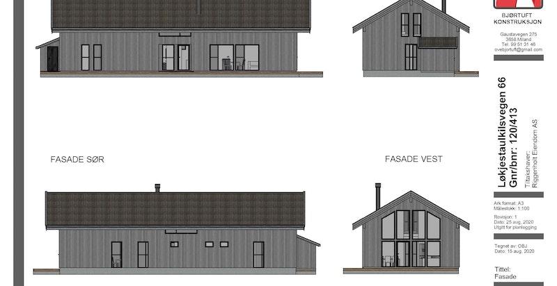 Fasadetegning Løkjestaulkilsvegen 66