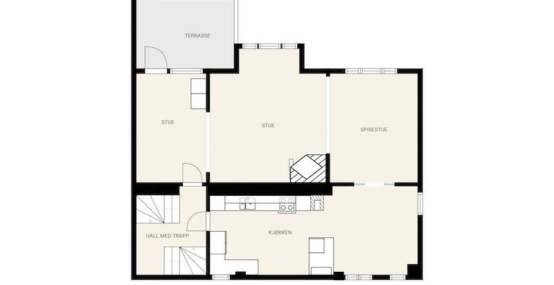 1. etg. - Terrassen benyttes som hovedinngang fra gaten og hagen inn til stue/hall (opprinnelige tegninger viser stuen som hall)