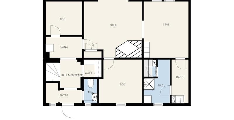 Kjeller med bi-inngang direkte fra nordsiden av huset. Ingen rom i kjeller er p.t. godkjent til varig opphold, men benyttes som kjellerstue og lagring m.m.