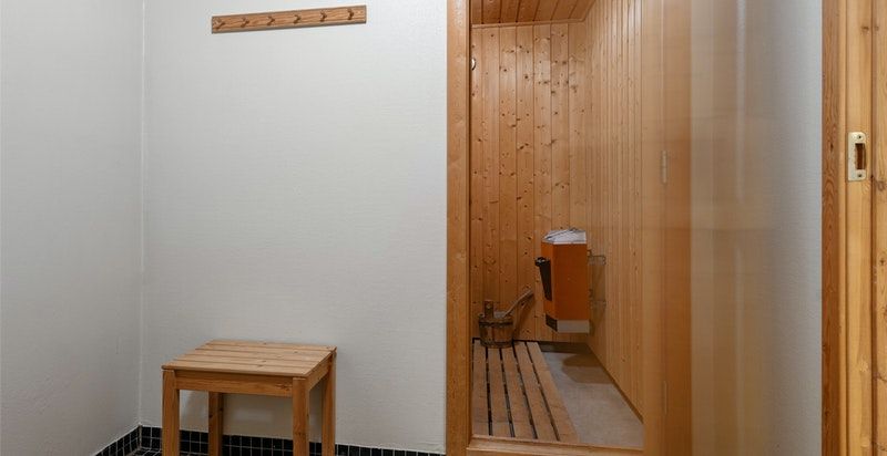 Velværeavdelig med toalett, romslig dusjbad og badstue