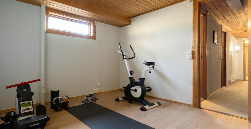 Innredet rom brukes i dag som treningsrom.