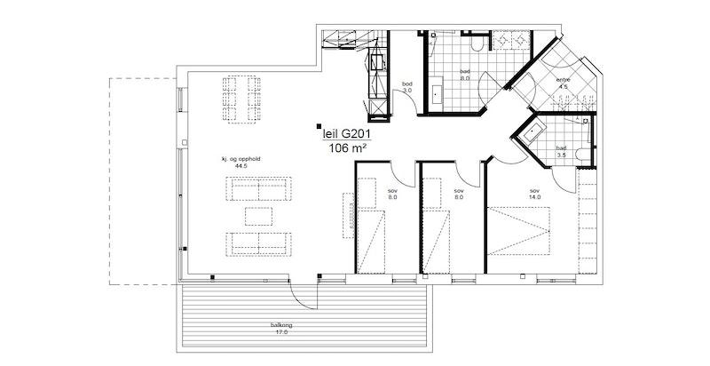 Plantegning leilighet G201 i Magasinparken 22. Garasjeplass og sportsbod medfølger. Heis til leilighetsplan.