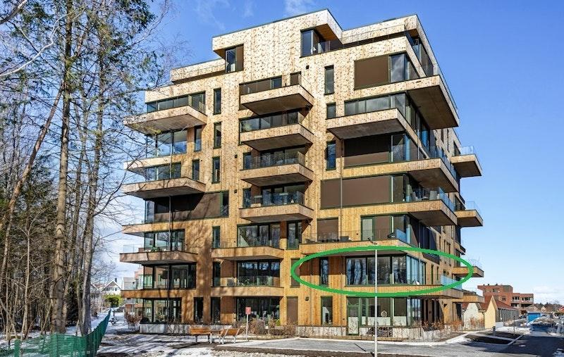 Ski Tårn av Code - Innflyttingsklar leilighet G201 (106 kvm) markert i grønn.