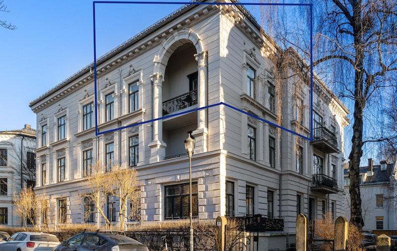 Illustrasjon av leilighetens beliggenhet i bygget.
