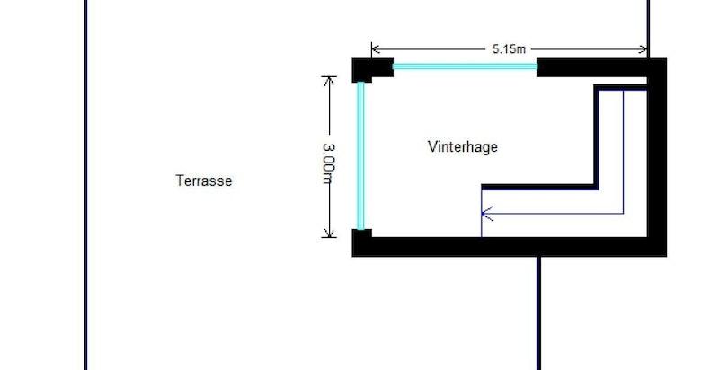 Planskisse takstue / terrasse