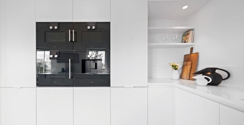 Fullhøyde kjøleskap og separat frys. Integrert oppvaskmaskin (toppmodell fra Míele)