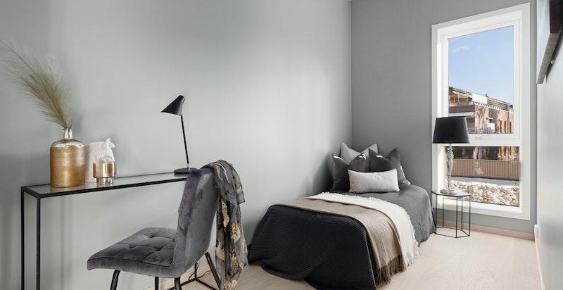 """Soverom 2 egner seg godt til barne- eller gjesterom. Begge soverommene er malt i """"Minty Brezze"""" som gir en lun følelse."""