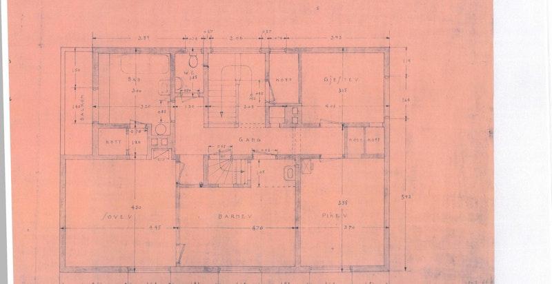 Planløsning 2. etasje - skisse fra byggeår ca. 1918 fra lignende hus i nabolaget - avvik forekommer