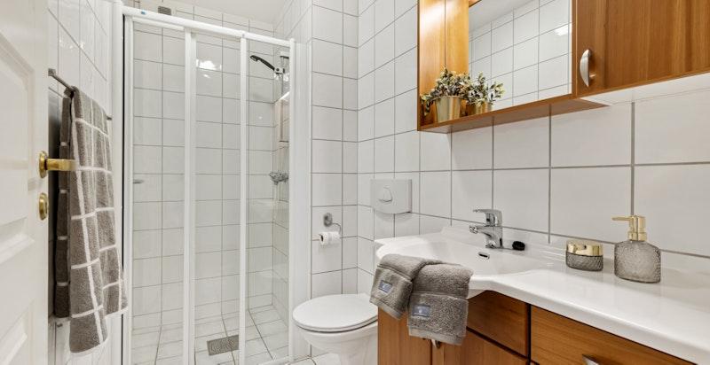 Gjestebad med vegghengt wc og dusjnisje