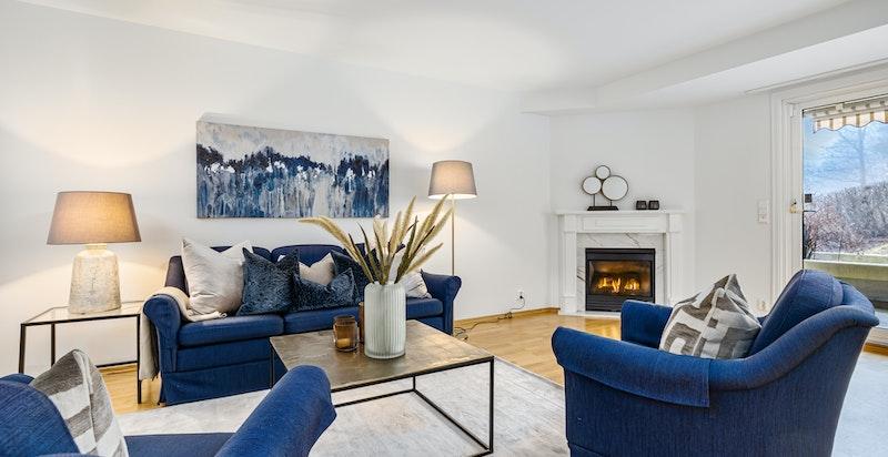Salongavdeling med praktisk og lettvint gasspeis varmer godt og er godt synlig i rommet