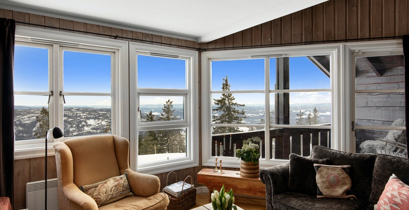 Upåklagelig utsikt fra stua og balkongen