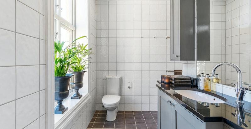 Pent flislagt baderom med wc og dusjnisje