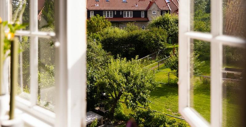 Fra vinduene i daglistuen/spisestuen har du nydelig utsyn til den ene av boligens hageparseller.