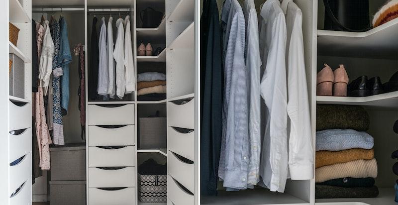 Meget praktisk garderoberom med innredning.