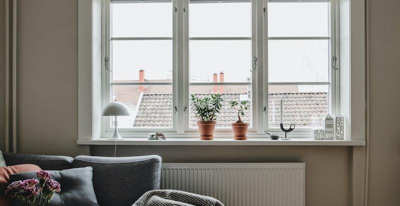 Fine lysflater i stuen som bidrar med naturlig lys inn i rommet. Her er det fin morgen og formiddagssol. Hyggelig utsyn over nabolaget.