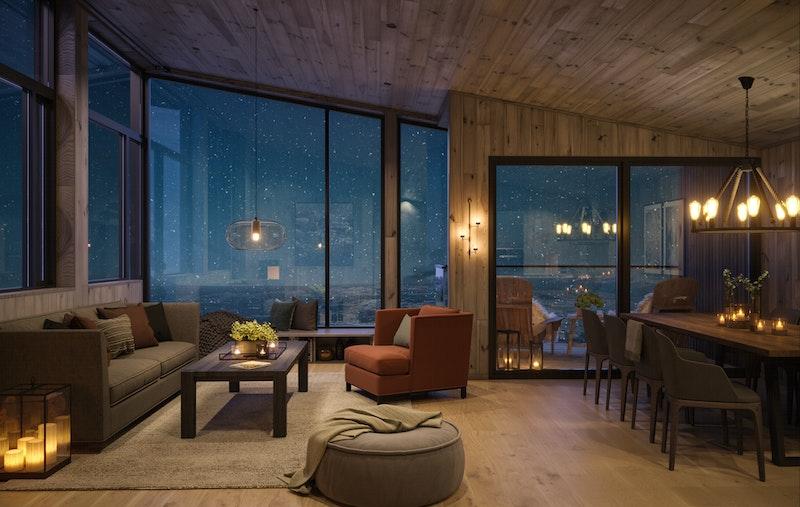 Illustrasjon av stue leilighetstype hjørne - legg merke til vindusflatene og takhøyden på opptil 3,5 meter!