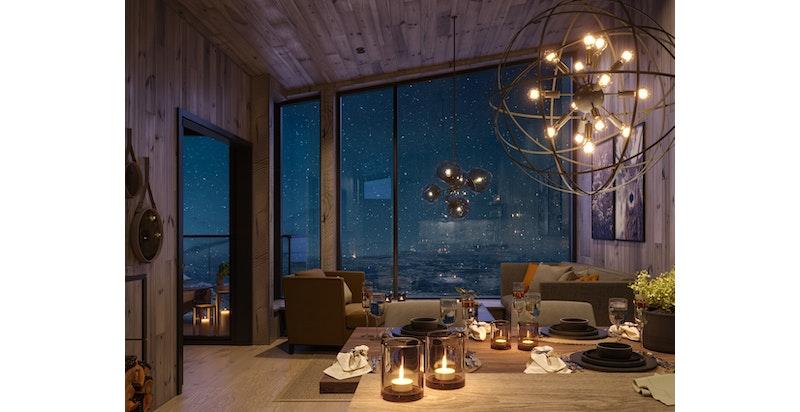 Illustrasjon av stue leilighetstype midtre - vinduene visker ut skillet mellom inne og ute. Med store vindusfelt mot vest blir også kveldssolen din beste venn og det gode livet kan nytes.