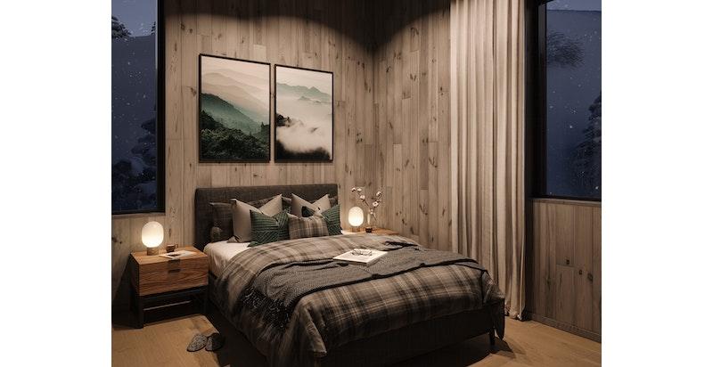 Illusttrasjon hovedsoverom - alle leiligheter får 3 gode soverom med smarte soner for sengeplasser og oppbevaring