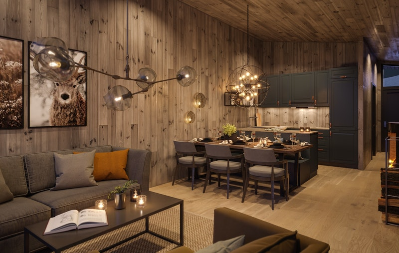 Illustrasjon av kjøkken og oppholdsrom leilighetstype midtre - smart planløsning og god takhøyde