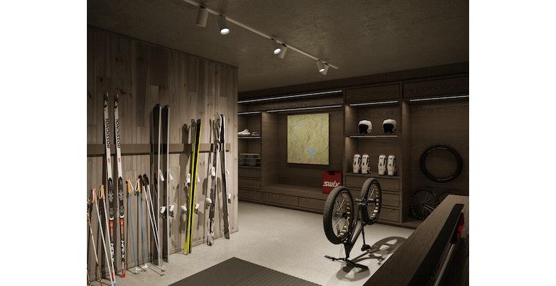 Hver leilighet får egen adskilt garasje med tilknytende skistall - og innvendig adkomst videre opp til leilighetene via privat eller felles trapp! Illustrasjon
