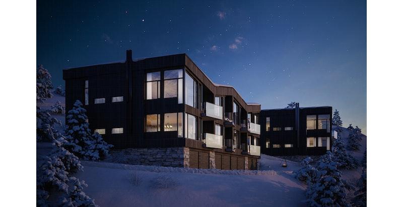 Kollen SkiLodge Bygg B og C - 8 eksklusive fritidsboliger per bygning. Illustrasjon av bygningen med adskilt garasje og privat skistall per leilighet i sokkel, og 2 plan med l